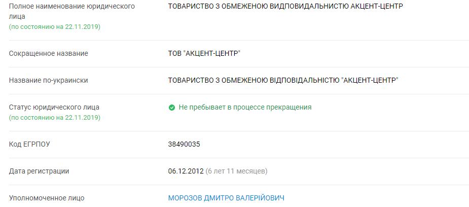 "Данные об ООО ""Акцент-центр"". Скриншот"