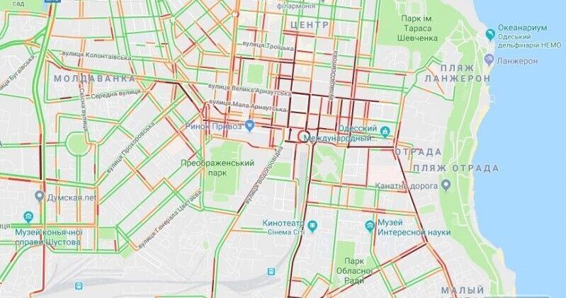 Транспортный коллапс в центре Одессы
