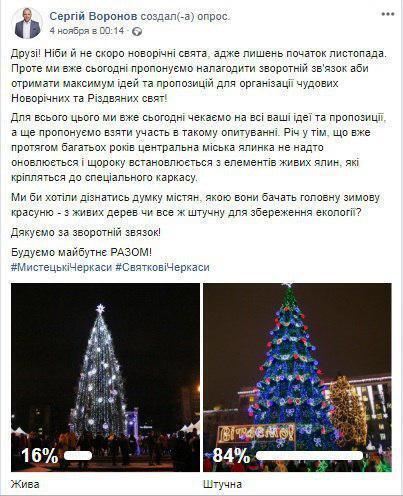 В Черкассах планируют потратить миллионы на искусственную городскую елку