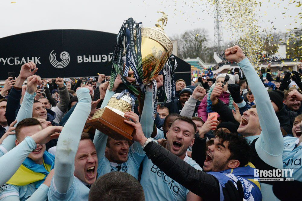 Эмоции Милевского и партнеров с главным трофеем чемпионата Беларуси