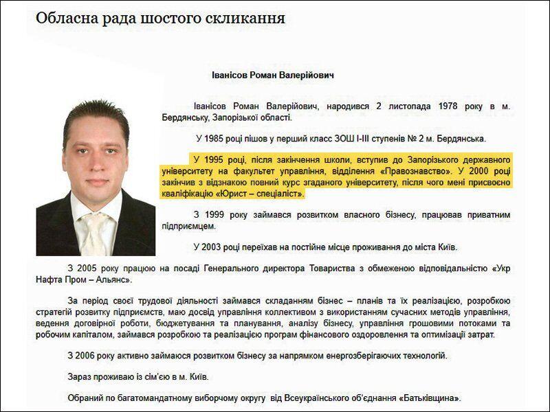Роман Иванисов, вероятно, не имеет высшего образования