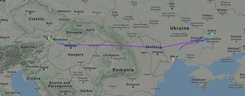 Карта польоту рейсу OS675 Відень-Дніпро