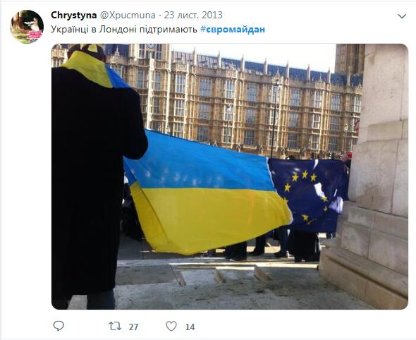 Акция в поддержку Евромайдана в Лондоне