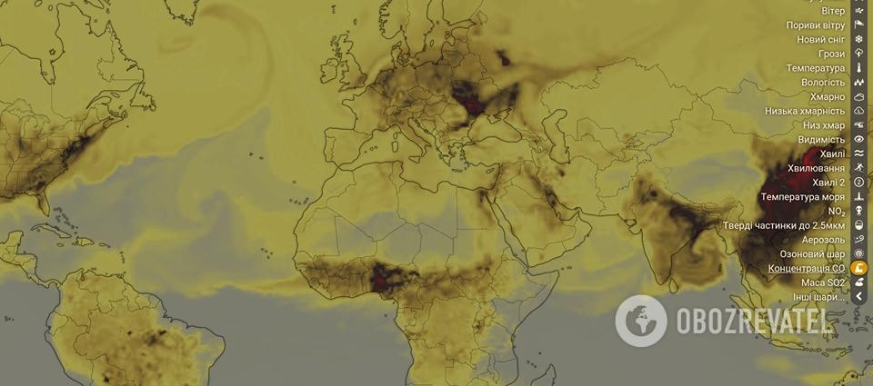 Карта загрязненного воздуха