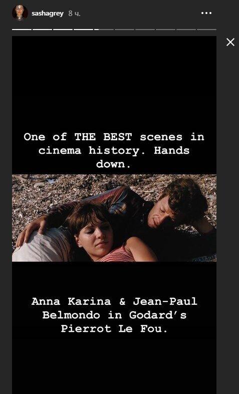 Кадр из фильма Годара с Анной Кариной и Жан-Полем Бельмондо