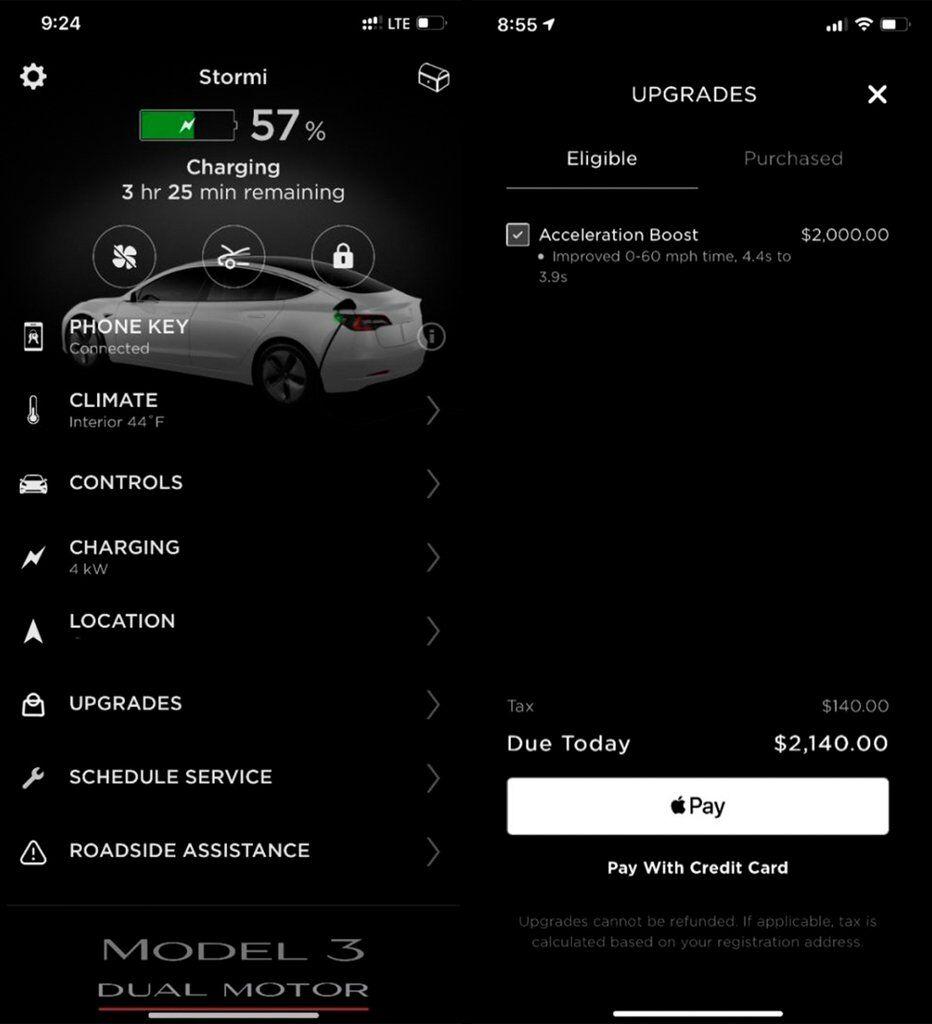 Скриншот приложения Tesla