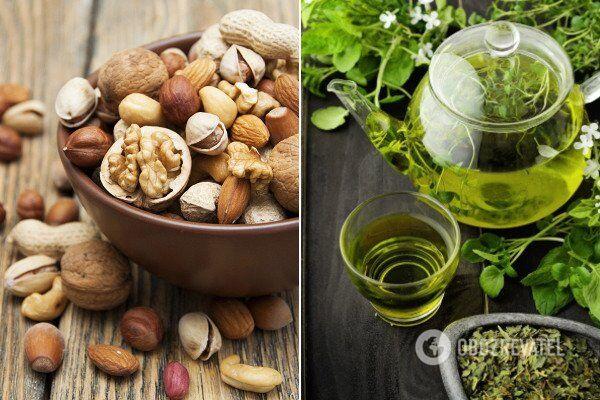 Горіхи дуже поживні, а зелений чай є антиоксидантом