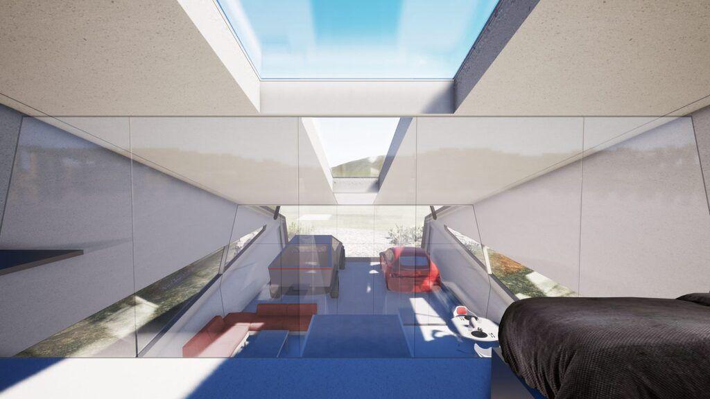Концепт гаража для Tesla Cybertruck