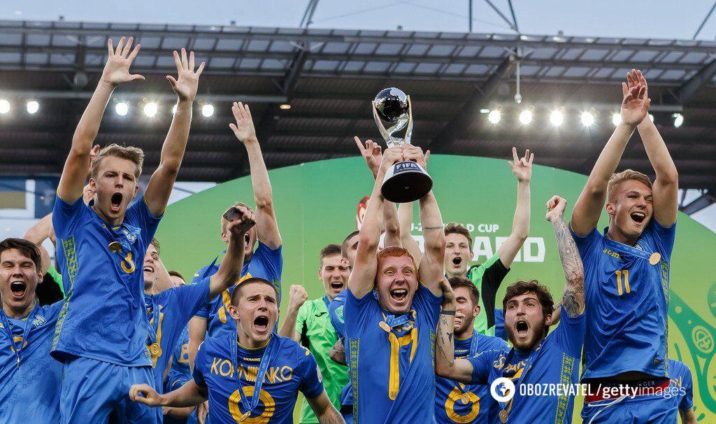 Сборная Украины (U-20) празднует победу на чемпионате мира 2019