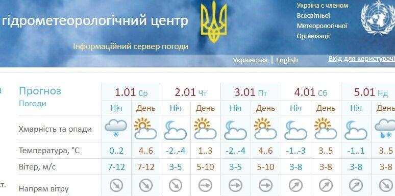 Прогноз погоды в Одессе в новогоднюю ночь