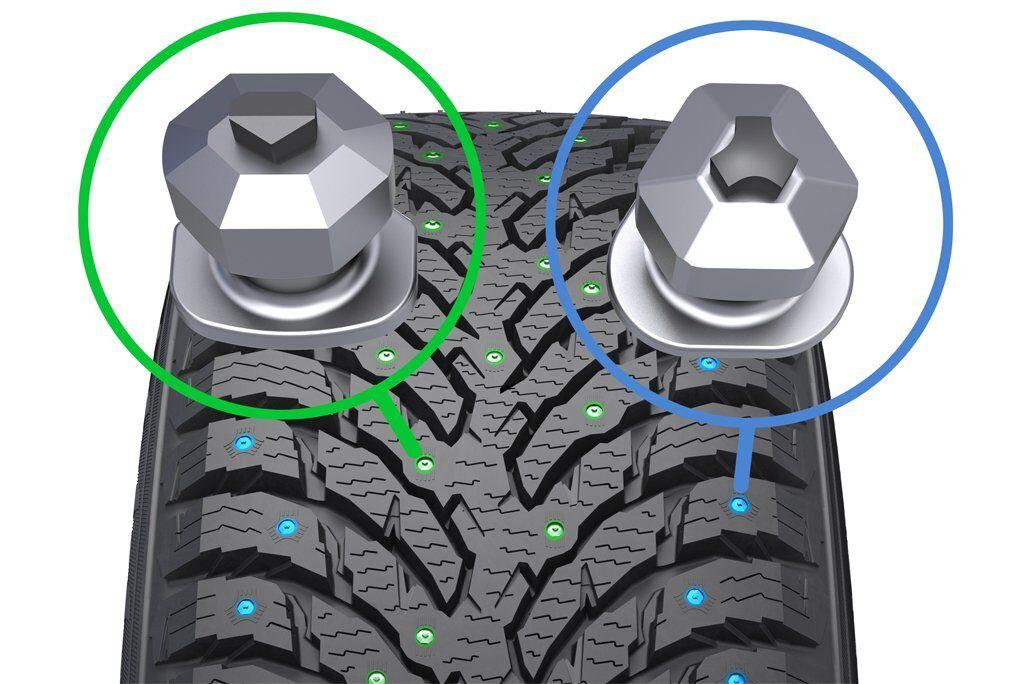 Зимние шины Nokian Hakkapeliitta 9 с двумя типами шипов обеспечивают надежное сцепление в поворотах и при прямолинейном движении