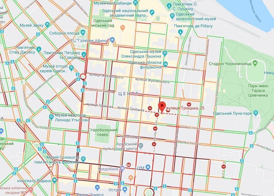 Карта пробок в Одессе из-за пожара