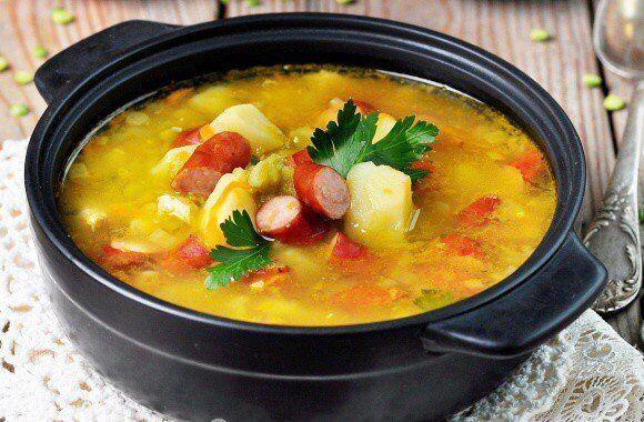 Суп с плавленым сыром и колбасой