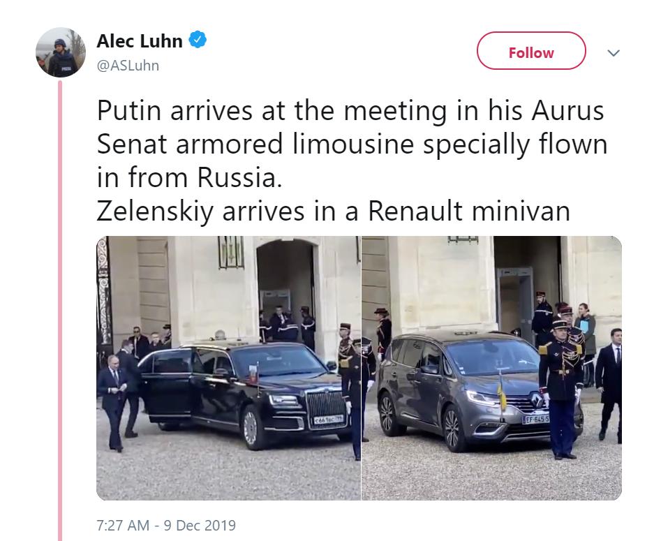 В сети сравнили машины Зеленского и Путина