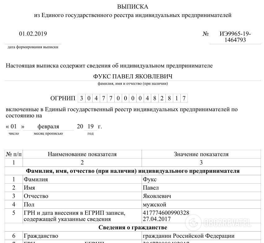 В реестрах указано, что Фукс — гражданин России