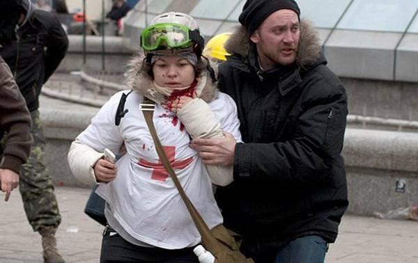 Олеся Жуковская на Майдане 20 февраля 2014 года
