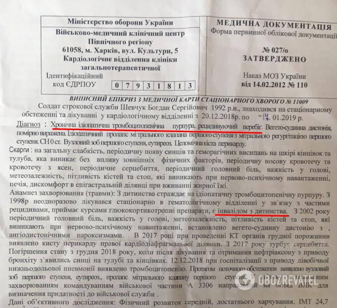 Диагноз Богдана, а также данные о его состоянии на момент пребывания в Харьковском госпитале