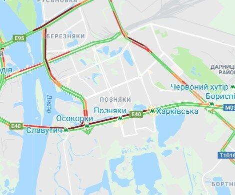 Затори на мостах в Києві