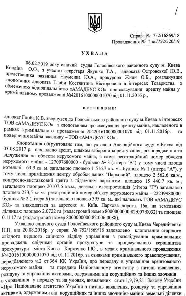 Рішення Голосіївського районного суду Києва про зняття арешту