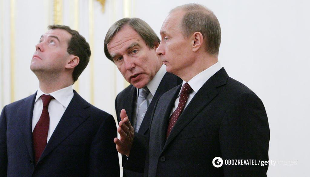 Дмитро Медведєв, Сергій Ролдугін і Володимир Путін