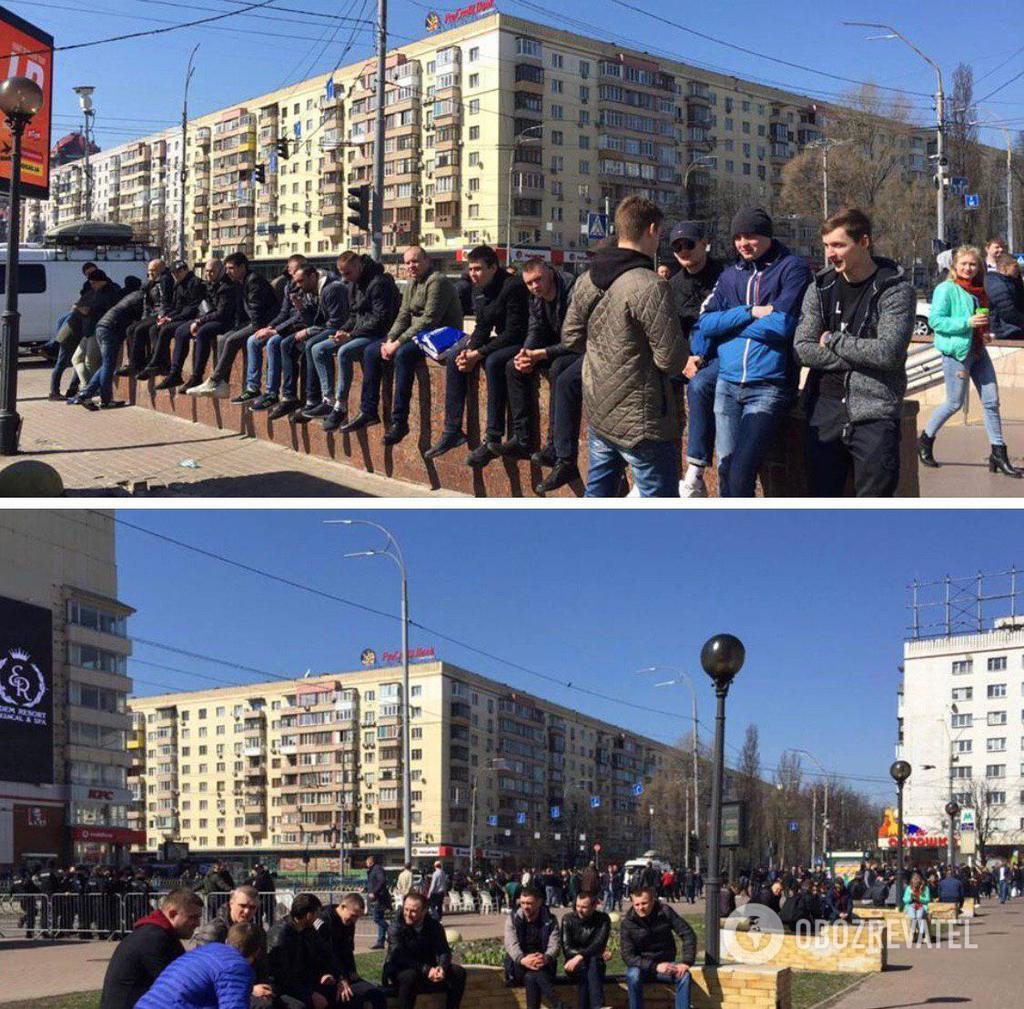 У центрі Києва під ЦВК зібралися тітушки