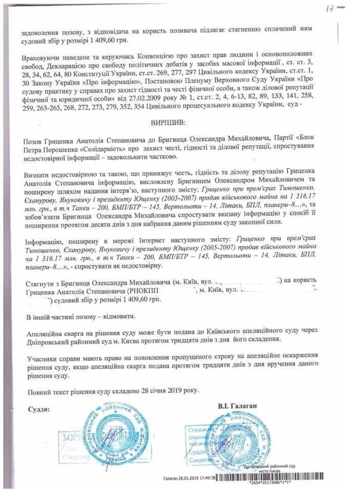 Нардеп БПП проиграл суд Гриценко