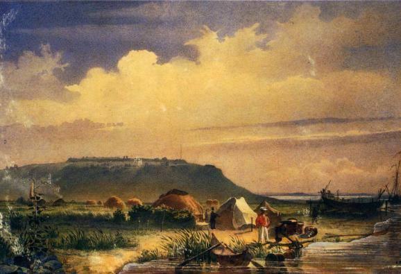 """""""Фортеця Раїм. Вигляд з верфі на Сирдар'ї """" (1848 р.)."""