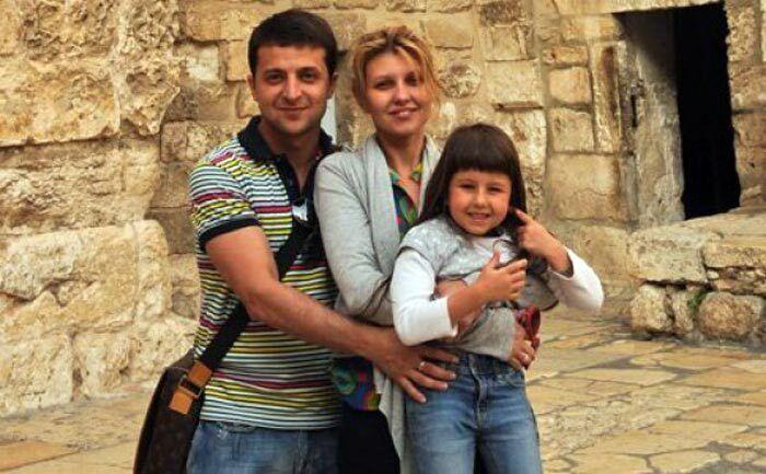 Владимир Зеленский с женой Еленой и дочерью