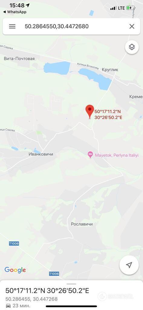 Место задержания на карте