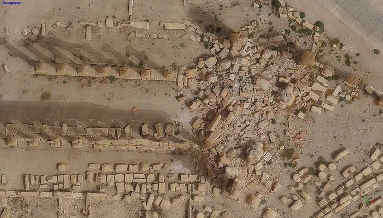 Монументальная арка Пальмиры после разрушения