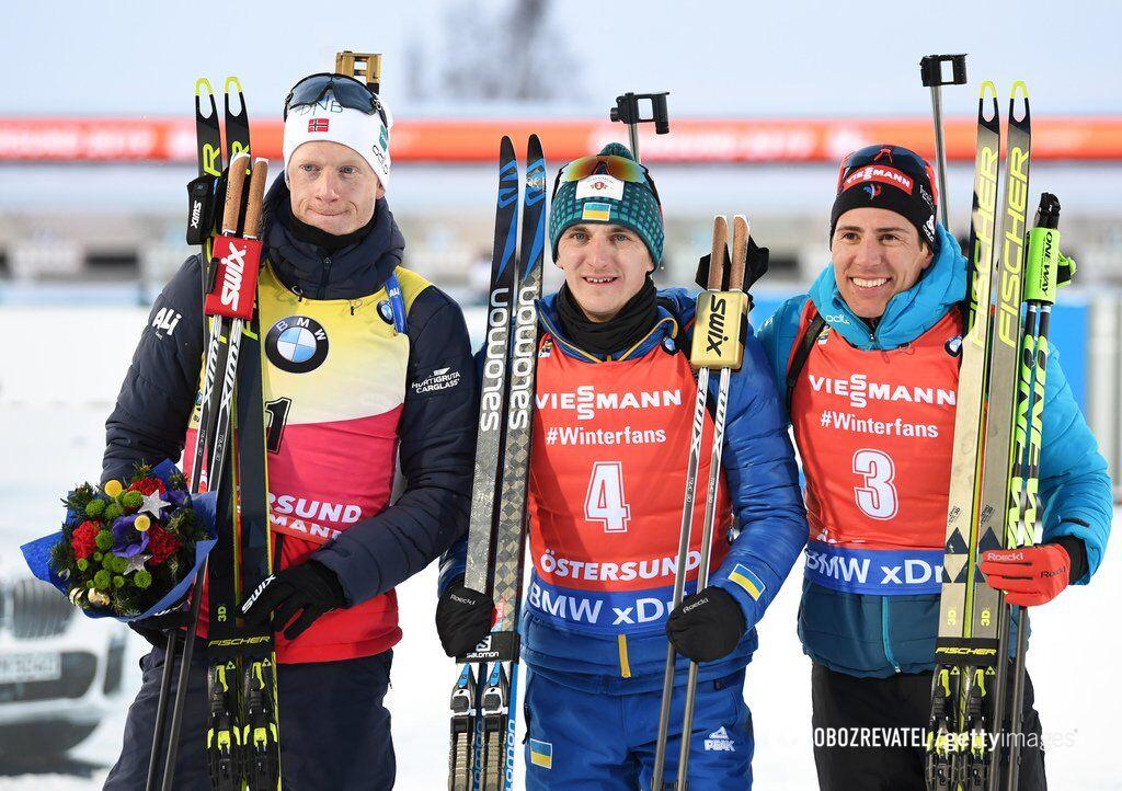 Дмитро Підручний (в центрі) одразу після переможного пасьюту ЧС разом з Йоханнесом Бьо (ліворуч) та Кантеном Фійоном-Має
