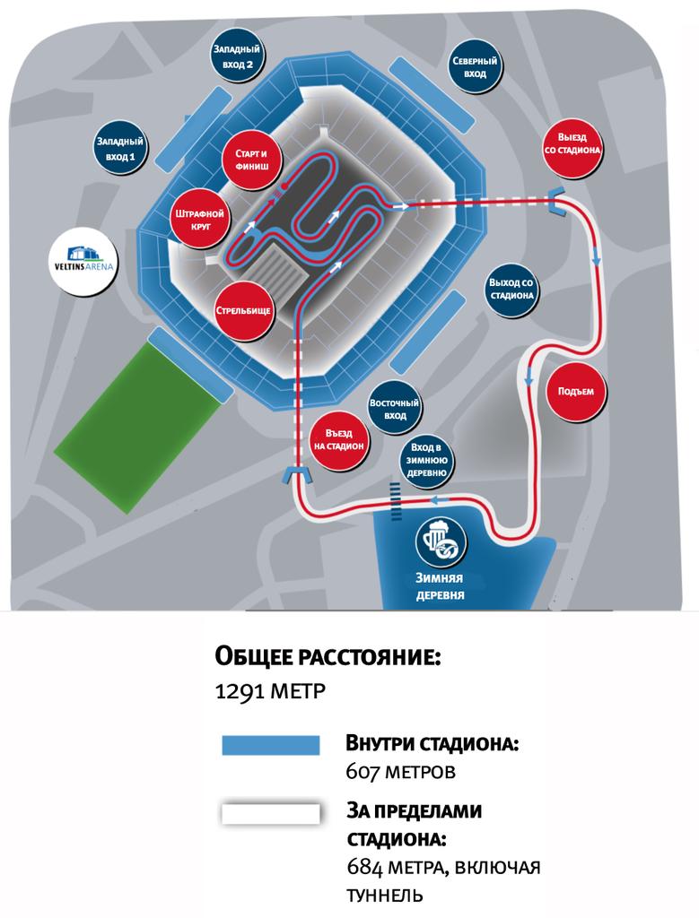 """Схема траси Різдвяної гонки на """"Фельтінс-Арена"""""""