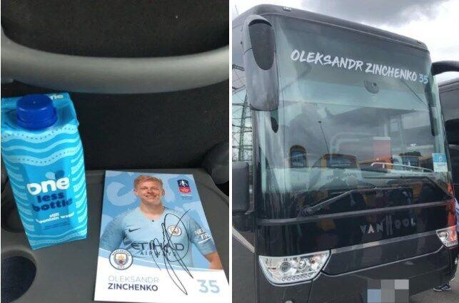 """В каждом автобусе болельщиков также ждал автограф одного из игроков """"Ман Сити"""""""