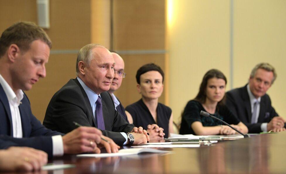 Владимир Путин на встрече с получателями мегагрантов и молодыми учёными