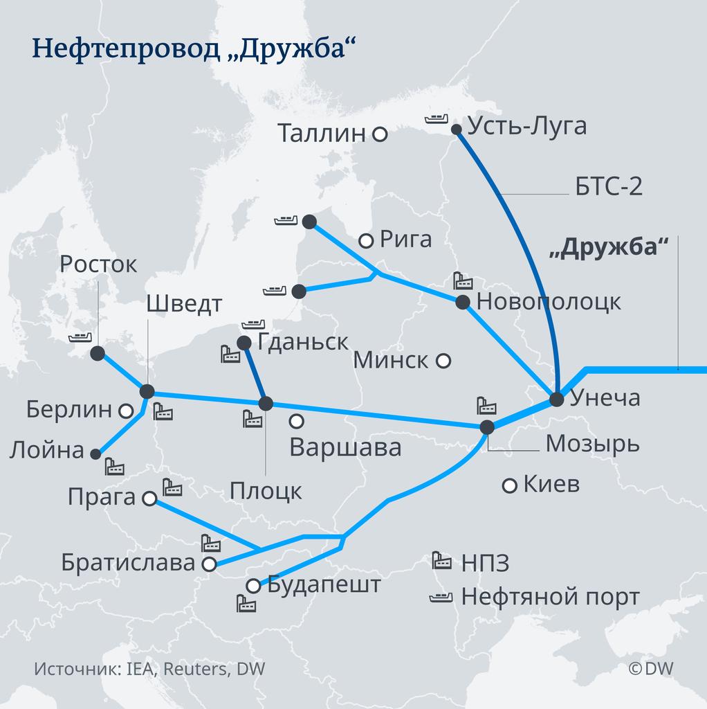 """Карта нефтепровода """"Дружба"""""""