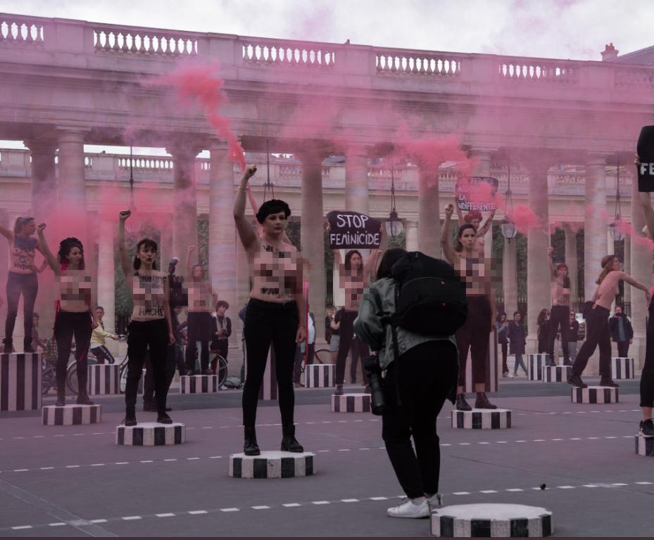 Femen зажгли дымовые шашки на акции в Париже
