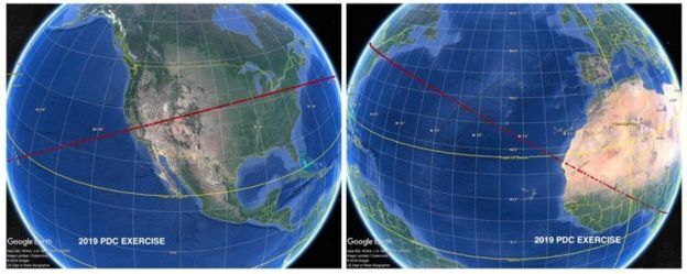 Траектория падения астероида