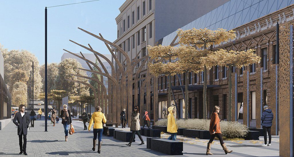 Дерева, фонтани та пішохідка: як виглядатиме нова вулиця Короленка в Дніпрі