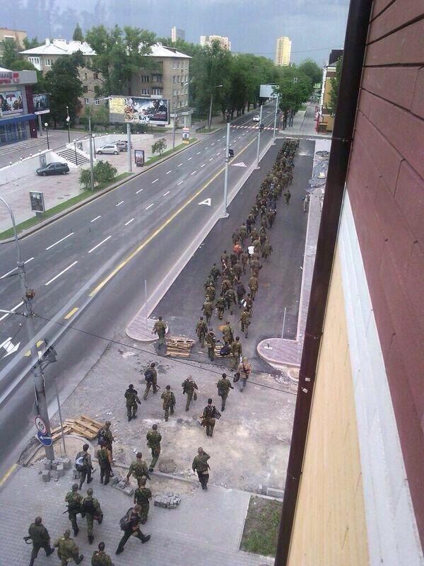 Первый заход террористов в Донецк