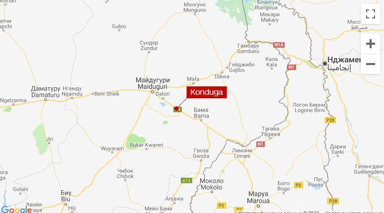 Місто Кондуга на мапі