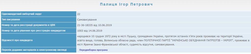 Профиль Игоря Палицы на сайте ЦИК