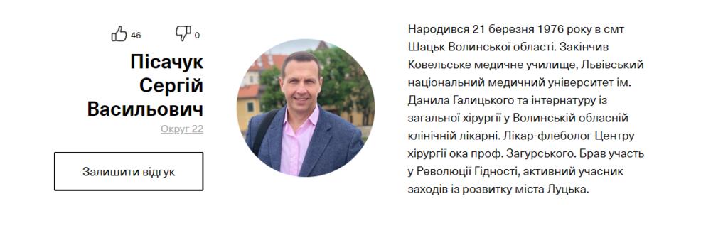 Профиль кандидата на сайте партии