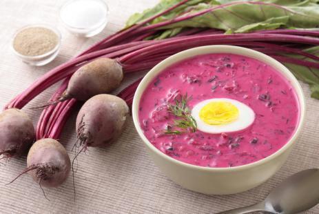 Летний холодный суп: свекольник