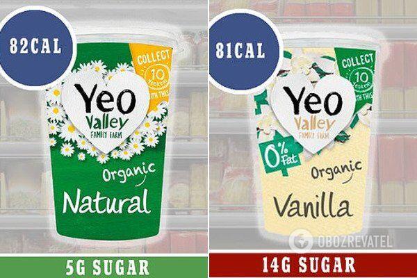 Натуральный йогурт (слева) и йогурт с 0% жира