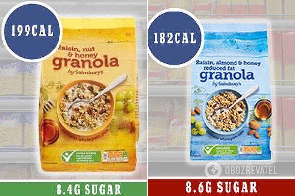 Обычный сухой завтрак (слева) и его более легкая версия (справа)