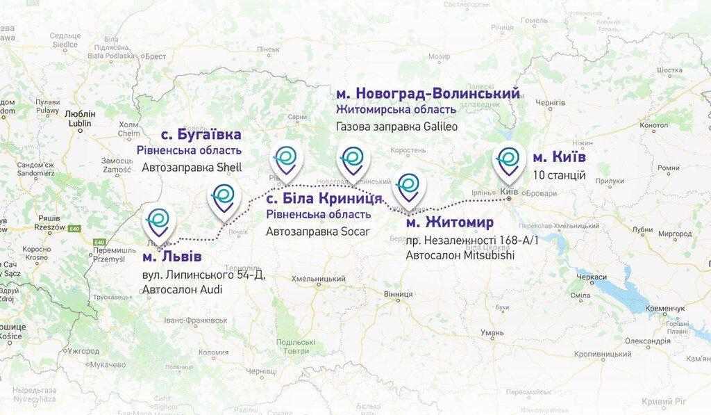 Карта розташування зарядних станцій STRUM