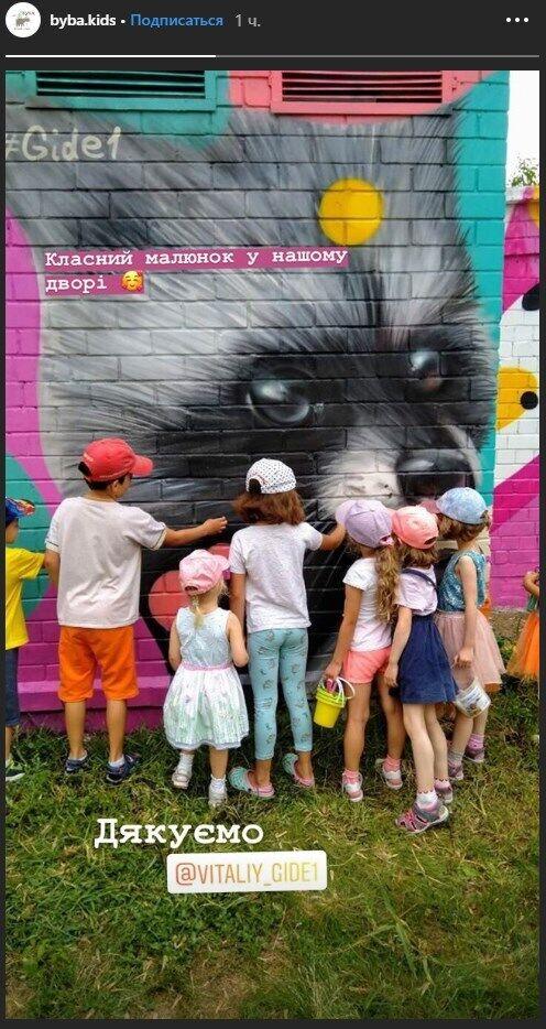 Діти навколо муралу
