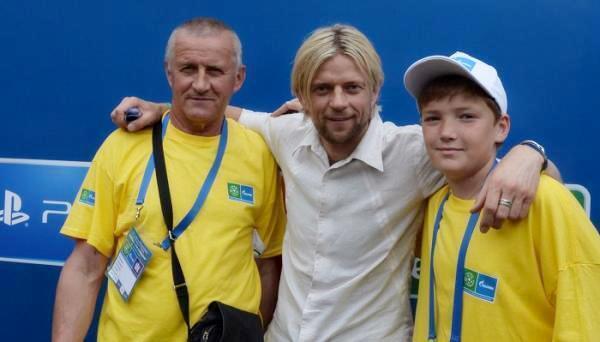 Анатолій Тимощук разом зі своїм батьком Олександром Івановичем перед фіналом Ліги чемпіонів 2015 Берліні