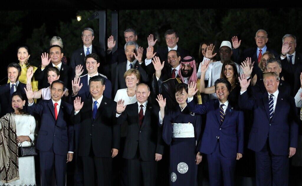 Владимир Путин, общее фото на саммите G20 в Японии