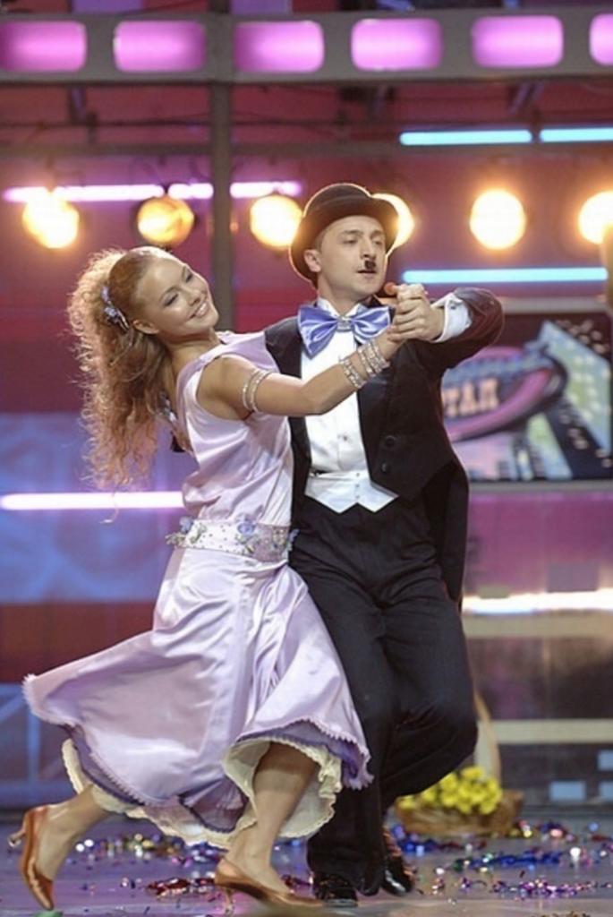 Владимир Зеленский и Алена Шоптенко (победители первого сезона)
